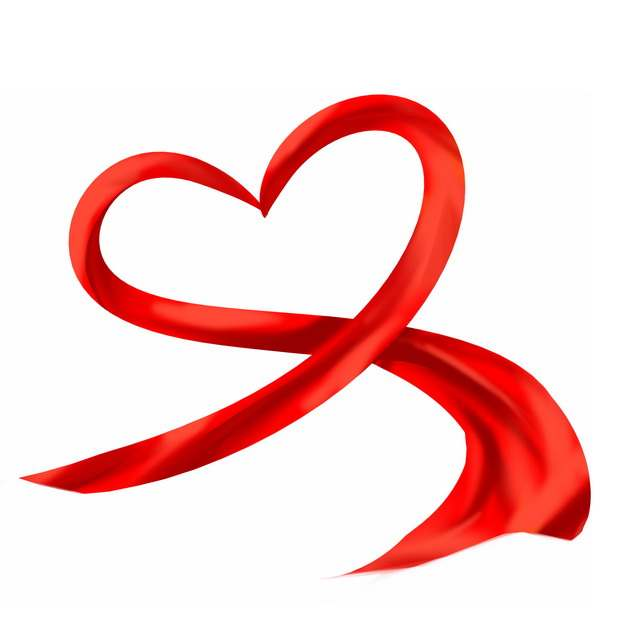 组成心形爱心图案的红色绸缎面丝绸丝带装饰6232798png图片素材