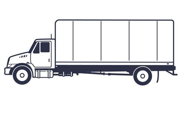 线条厢式卡车侧视图567604png图片素材