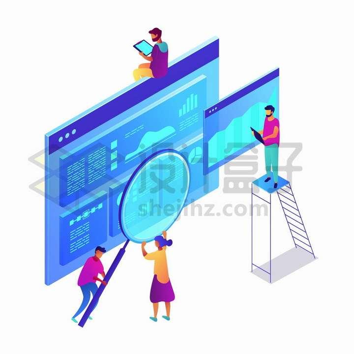 爬梯子放大镜分析蓝色数据统计界面png图片免抠矢量素材