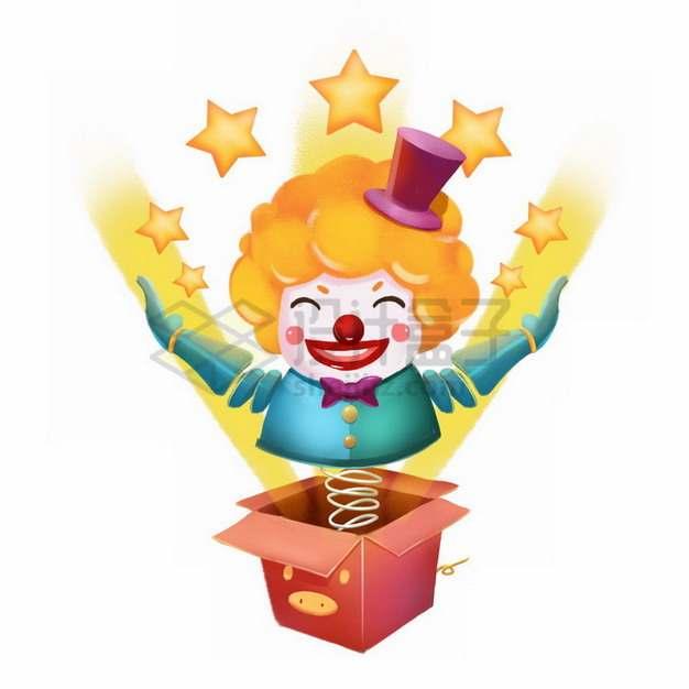 打开的盒子里弹出来的小丑玩偶愚人节插画png免抠图片素材