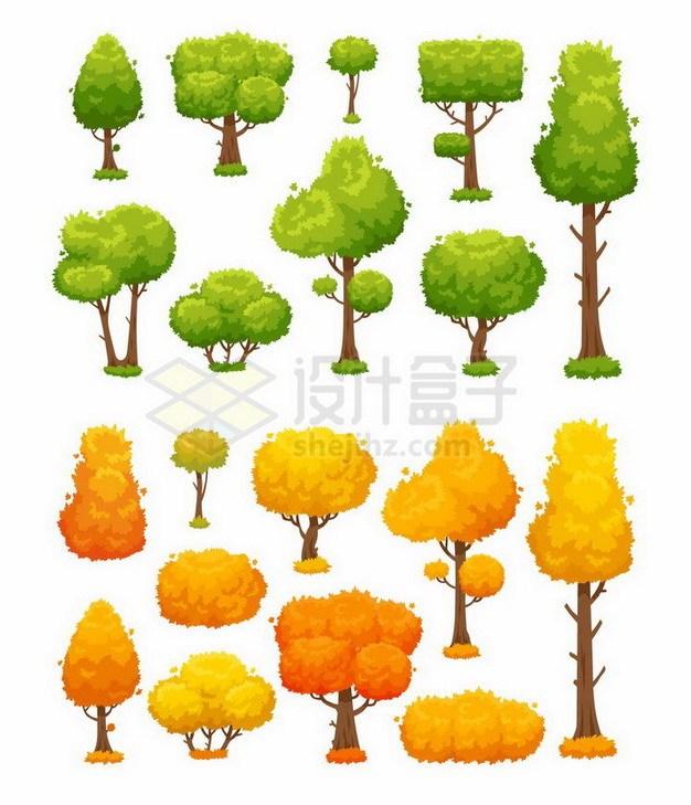 春夏郁郁葱葱的大树和秋天枯黄的大树png图片免抠矢量素材 生物自然-第1张