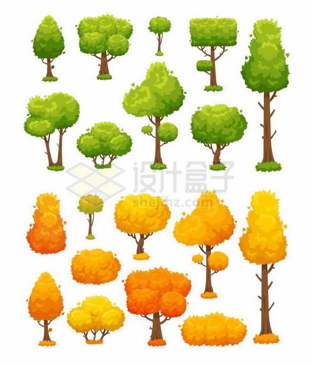 春夏郁郁葱葱的大树和秋天枯黄的大树png图片免抠矢量素材