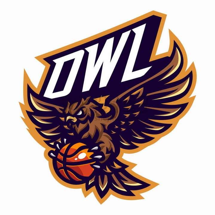 飞行中的猫头鹰抓着篮球体育用品公司logo设计png图片免抠矢量素材