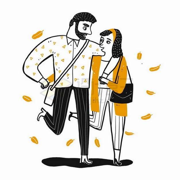 插画风格勾肩搭背拥抱在一起的情侣png图片免抠矢量素材