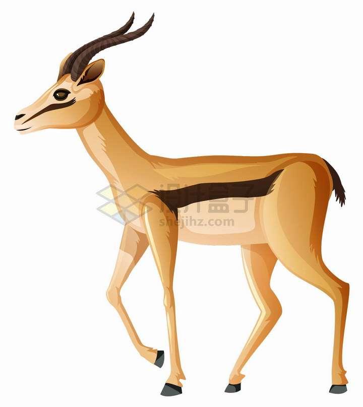 站立的羚羊非洲大草原野生动物png图片免抠eps矢量素材