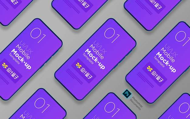 排列整齐的苹果苹果iPhone 12手机界面展示样机psd样机图片模板素材