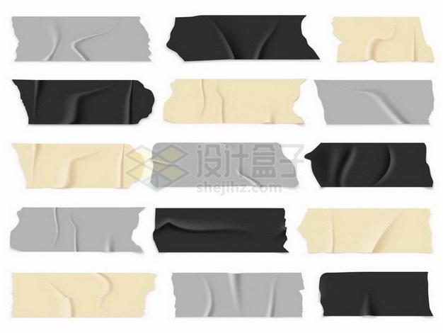 15款黄色灰色黑色胶带胶布贴纸效果png图片免抠矢量素材 效果元素-第1张