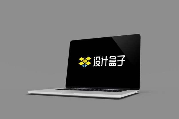 苹果笔记本电脑MacBook Pro侧前方显示画面psd样机图片模板素材