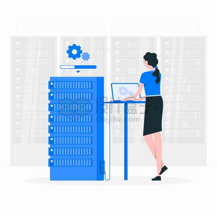 正在操作服务器的女程序员扁平插画png图片免抠矢量素材