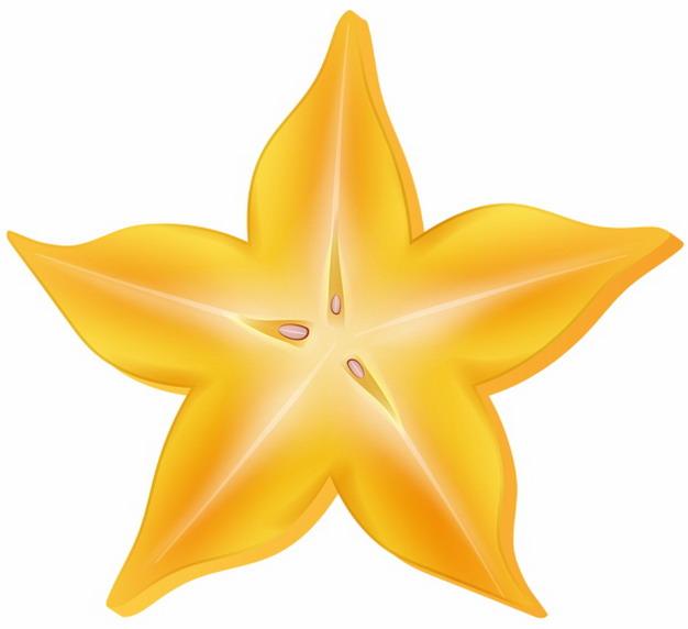 彩绘风格切开的杨桃横切面五角星5380332png图片素材 生活素材-第1张