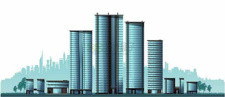 蓝色玻璃幕墙高楼大厦城市天际线建筑群png图片免抠矢量素材