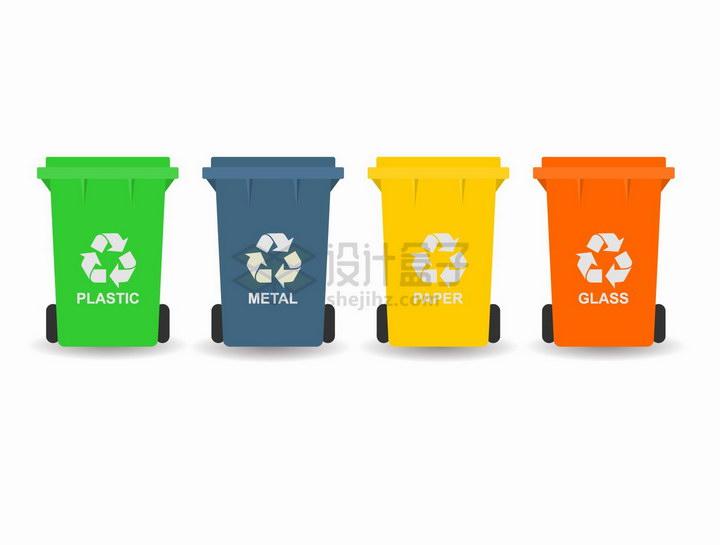4种颜色的垃圾桶垃圾分类手抄报png图片免抠矢量素材 生活素材-第1张