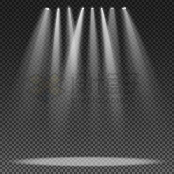 八盏舞台灯光聚光灯照射效果png图片免抠矢量素材