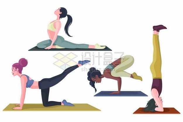 4款在瑜伽垫上练瑜伽动作的女孩592082png图片素材