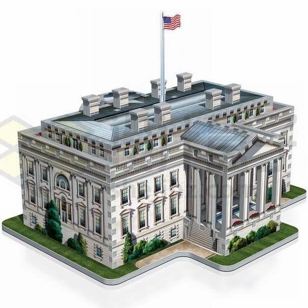 3D立体风格美国白宫建筑后门png图片素材