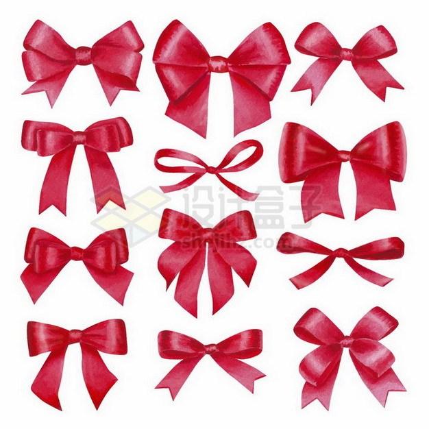 不同形状的红色蝴蝶结png图片免抠矢量素材 装饰素材-第1张