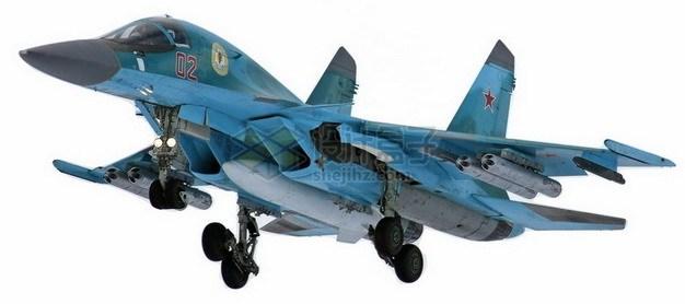 蓝色涂装的苏34鸭嘴兽战斗轰炸机png免抠图片素材 军事科幻-第1张