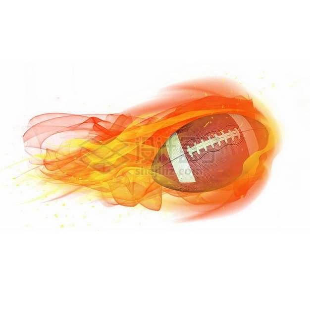 燃烧着火焰的橄榄球特效果5432118png图片素材