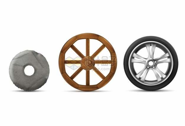石头轮子木头轮子和汽车轮胎等轮子的进化史874723png图片素材