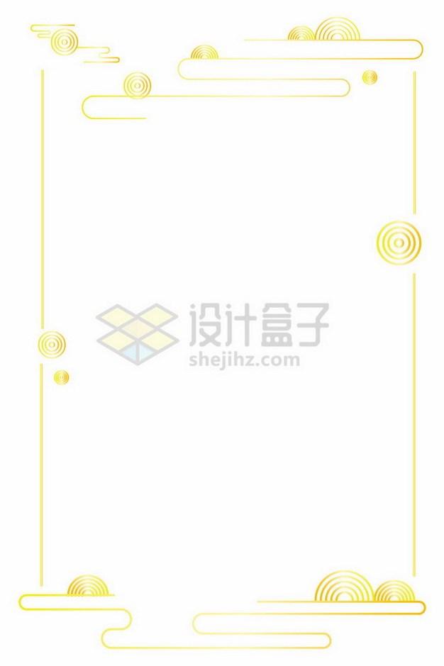 祥云图案金色线条边框文本框544962png免抠图片素材 边框纹理-第1张