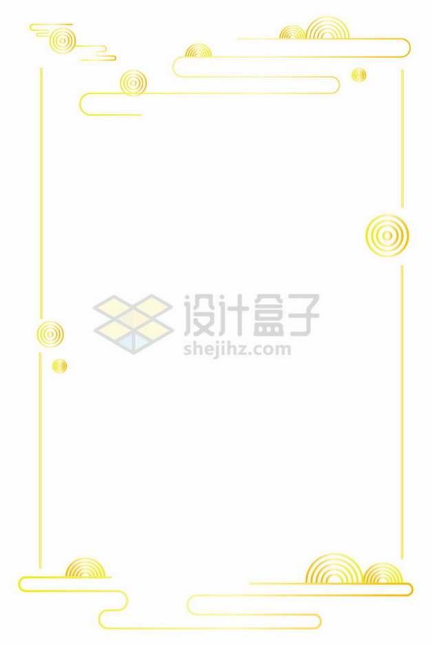 祥云图案金色线条边框文本框544962png免抠图片素材