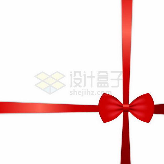 十字形红丝带蝴蝶结png图片免抠矢量素材 装饰素材-第1张