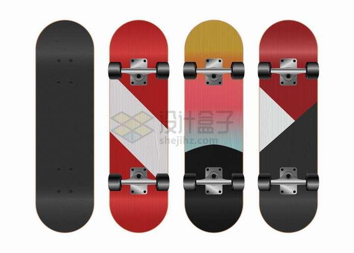 黑色和彩色滑板png图片免抠矢量素材
