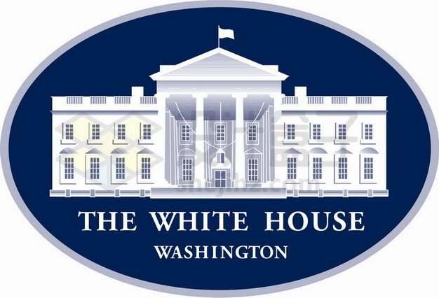 蓝色美国白宫logo徽章标志png图片素材