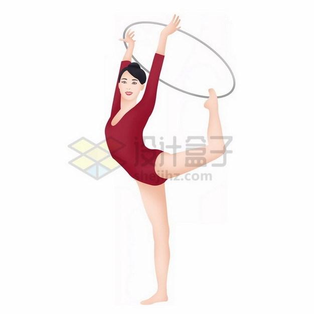 拿着圆环跳舞的美女插画764392png免抠图片素材 人物素材-第1张