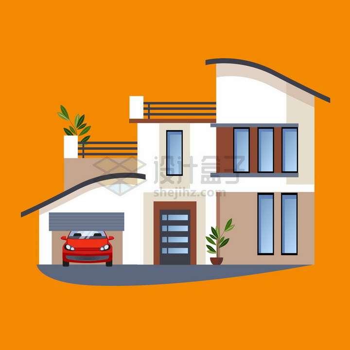 带车库大阳台具有设计感的别墅扁平化房子png图片免抠矢量素材