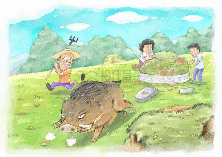 彩绘风格农民驱赶在田里搞破坏的野猪png图片免抠eps矢量素材