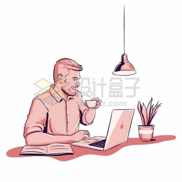 商务人士使用笔记本电脑彩绘插画302517png图片素材