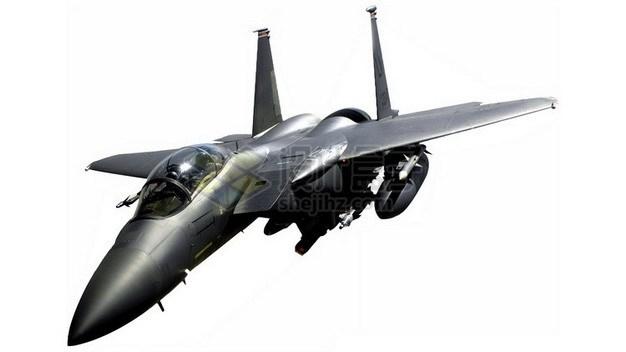 金属深灰色的F15战斗机png免抠图片素材 军事科幻-第1张