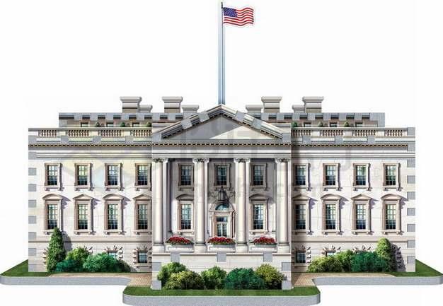 3D立体美国白宫建筑正面图png图片素材