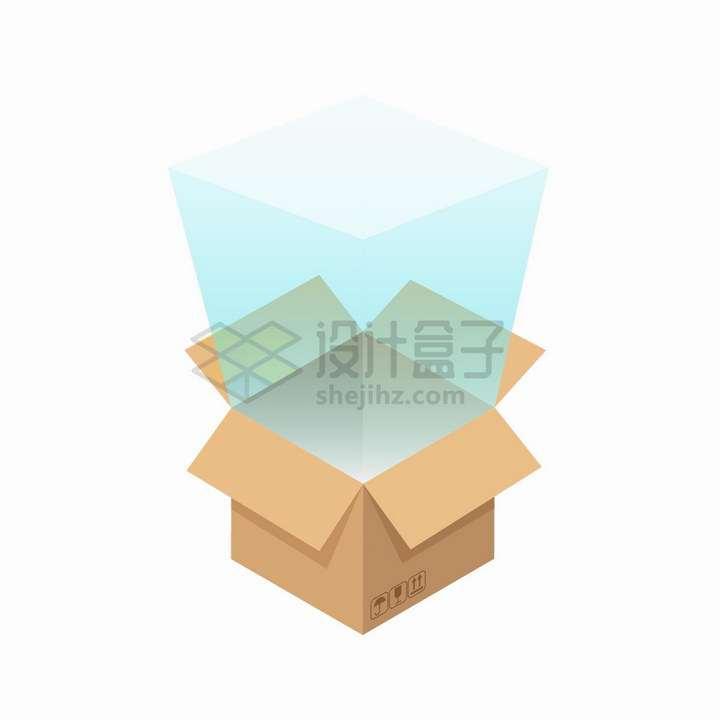 打开的纸箱子中发出的蓝色光芒png图片免抠eps矢量素材