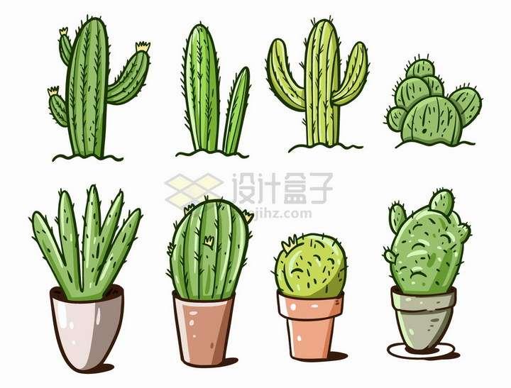 8款手绘卡通仙人球花盆仙人棒仙人掌png图片免抠矢量素材