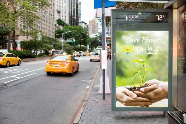 街边公交亭广告牌广告灯箱psd样机图片模板素材495621