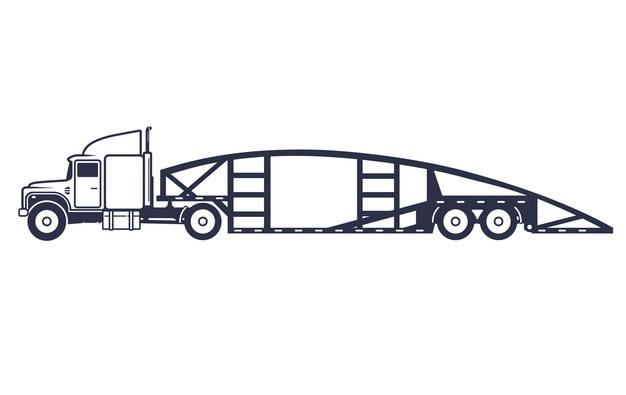 线条轿运车汽车运输车侧视图466887png图片素材