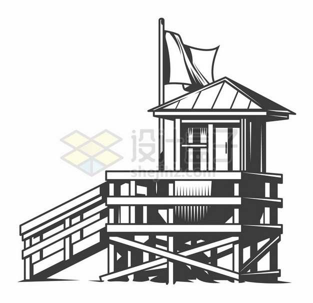 黑白画风格海边的木头房子745500png图片素材