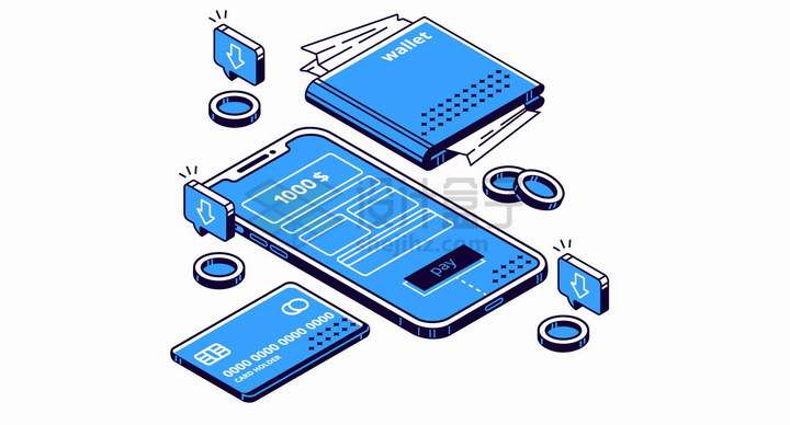 2.5D风格蓝色智能手机银行卡智能钱包png图片免抠矢量素材