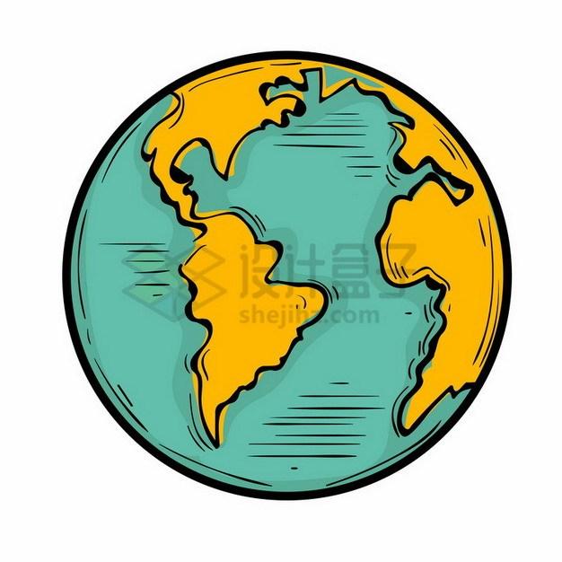 手绘卡通地球定位在大西洋和南美洲png免抠图片素材 科学地理-第1张