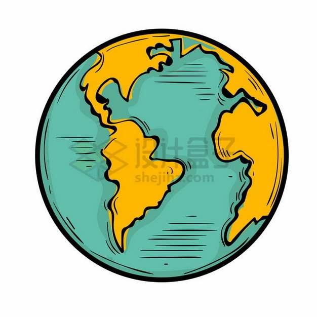 手绘卡通地球定位在大西洋和南美洲png免抠图片素材