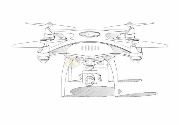 线条素描风格四轴飞行器航拍无人机453804png图片素材