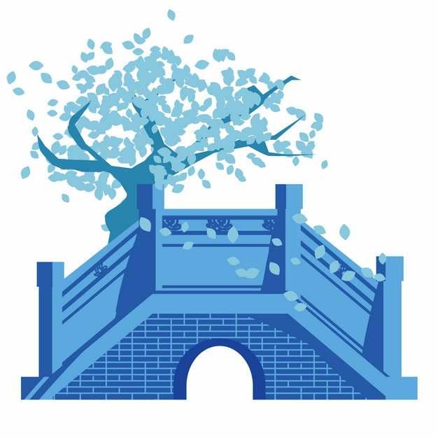 蓝色中国传统风格拱桥大树130365png图片AI矢量图素材