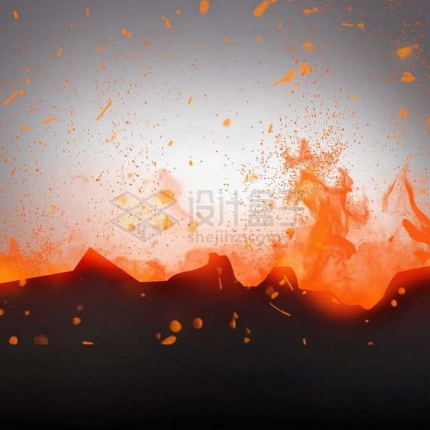 燃烧着火焰的纸张灰烬特效果1215465png图片素材