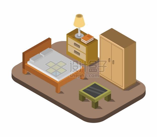 2.5D风格双人床床头柜衣柜等卧室装修779429png图片矢量图素材 建筑装修-第1张