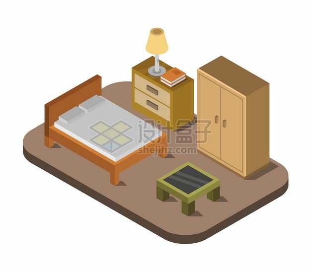 2.5D风格双人床床头柜衣柜等卧室装修779429png图片矢量图素材