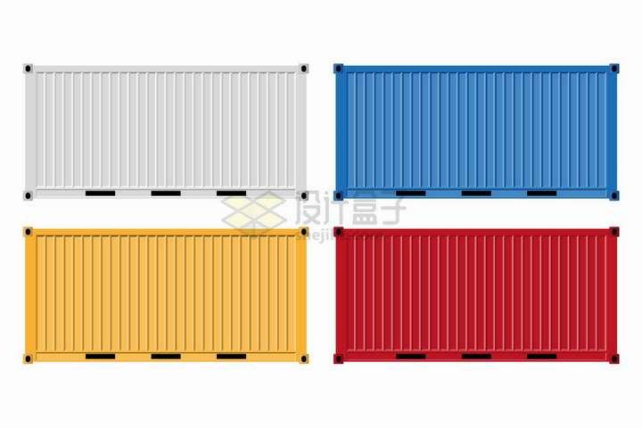 白色蓝色黄色和红色集装箱png图片免抠矢量素材