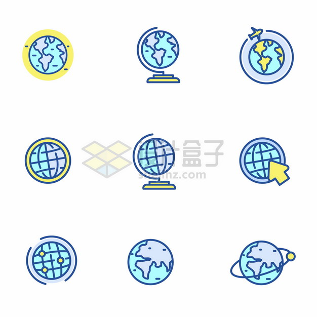 蓝绿色MBE风格地球模型地球仪icon图标png图片矢量图素材