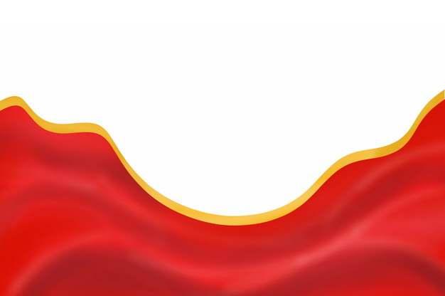 金色镶边飘扬的红色绸缎面丝绸红旗装饰512907png图片素材